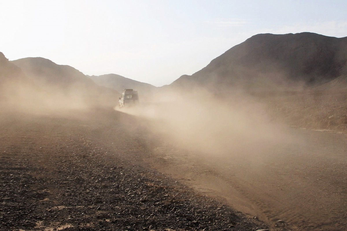 Polvo en el desierto en Egipto